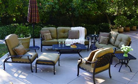 Patio Furniture Deep Seating Sofa Cast Aluminum Nassau Cast Aluminum Patio Furniture Reviews