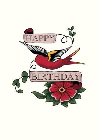 happy birthday tattoo images happy birthday bird card paper tiger