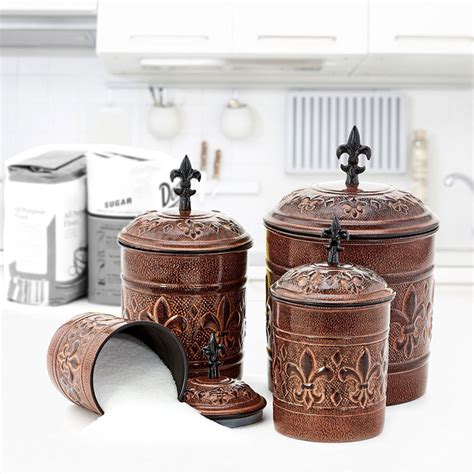 Antique Kitchen Canister Sets 4 piece metal canister set antique copper in kitchen