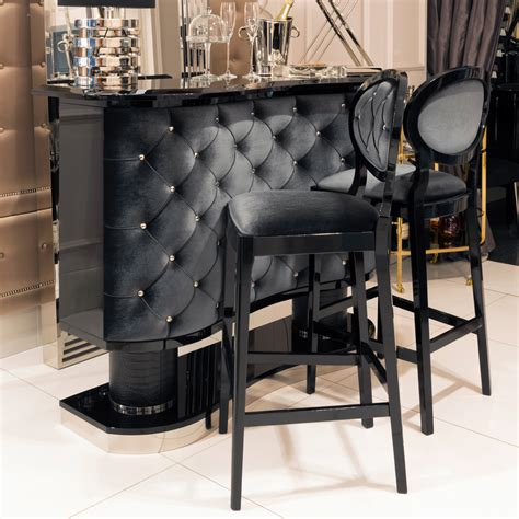 high end set of two luxury upholstered bar stools