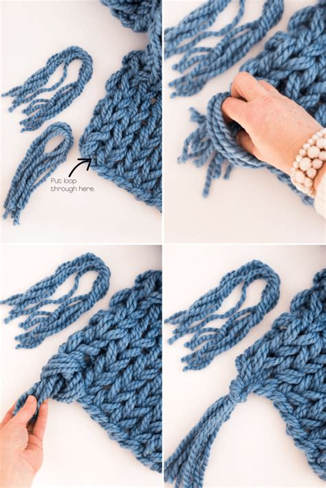 how to end arm knitting arm knit scarf with tassels flax twine