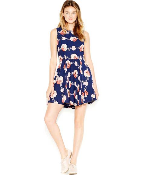 Mergory Flowery Flare Mini Dress lyst maison jules fit flare floral print dress in blue