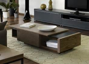 Modern wooden coffee table in wood texture with storage