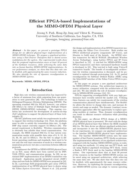 Ofdm Mimo Research Paper by Efficient Fpga Based Implementations Of The Mimo Ofdm Physical Layer Pdf Available