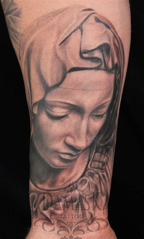 virgin mary tattoo in progress by brooker at