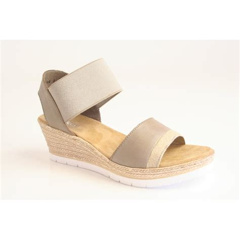 Sandal Beige rieker rieker beige wedge sandal with a platform rieker