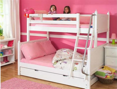 bloombety twin size beds idea for kids with pink walls