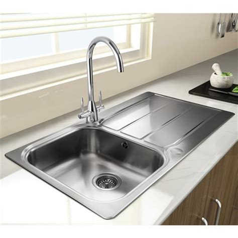 Brushed Steel Kitchen Sink Rangemaster Glendale 1 Bowl Brushed Stainless Steel Sink Waste Kit With Reversible Drainer