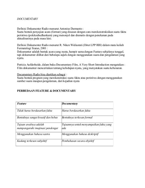format penulisan naskah berita tv penulisan naskah berita radio feature dokumenter