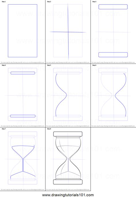 Drawing 8 Hours A Day by How To Draw An Hourglass Printable Step By Step Drawing