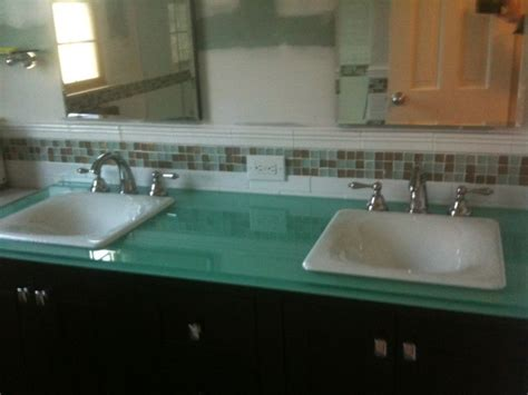 glass counter top traditional bathroom countertops