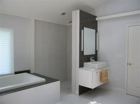 Walk in shower without glass doors or curtains bathroom tampa by interiors unleashed
