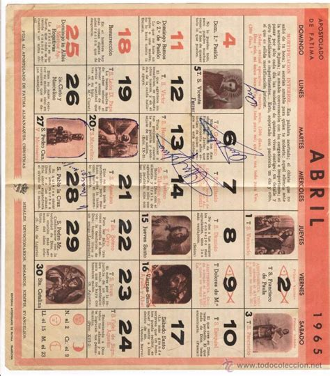 Calendario Religioso Hoja Calendario Religioso De Pared Abril 1965 Comprar