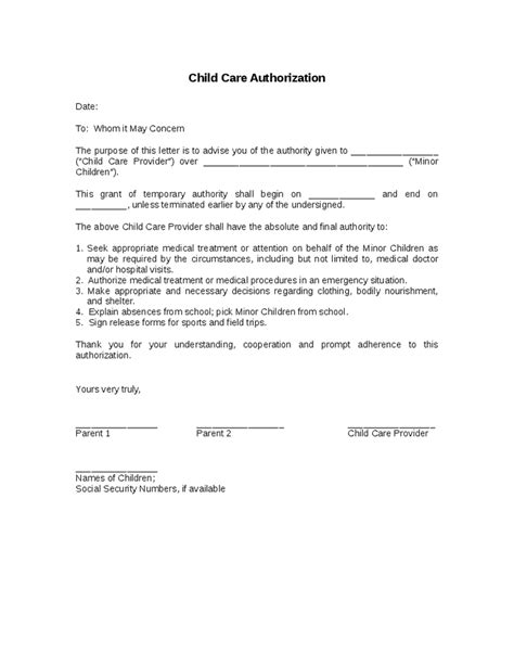 authorization letter for treatment of minor letter authorization form child care best free home