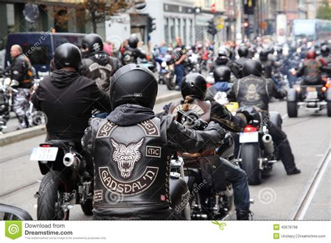 Bikers Brotherhood Bandidos protest of motorcycle clubs oslo editorial stock photo