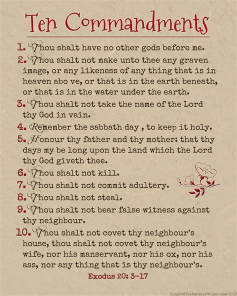 printable version of catholic ten commandments the amateur writer ten commandments printable wisdom