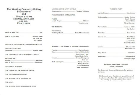 church program templates word 8 word wedding program templates free free
