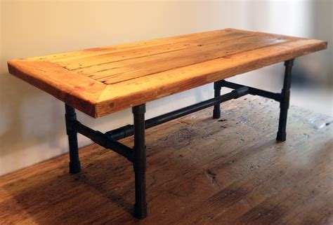 reclaimed wood pipe leg coffee table abodeacious