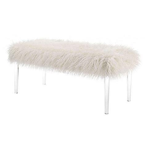flokati bench linon faux flokati bench in white bed bath beyond