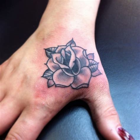 full right hand tattoo grey rose tattoo on girl right hand