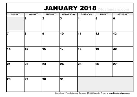 Printable Calendar Jan 18 | january 2018 calendar calendar printable free