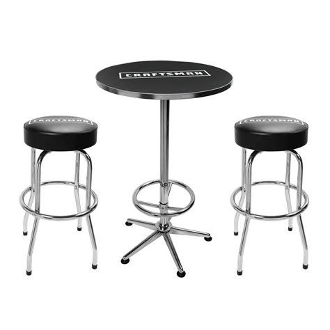 craftsman  piece pub set table  swivel stools shop