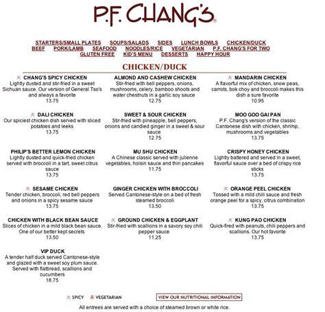 pf chang s home menu menu for p f chang s 1400 glades rd