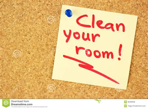 how do you clean your room clean your room sticker on the cork royalty free stock photos image 38468508