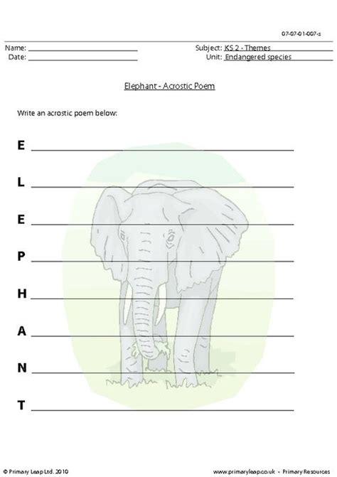The Elephant Poem Worksheet Answers by Elephant Acrostic Poem Primaryleap Co Uk