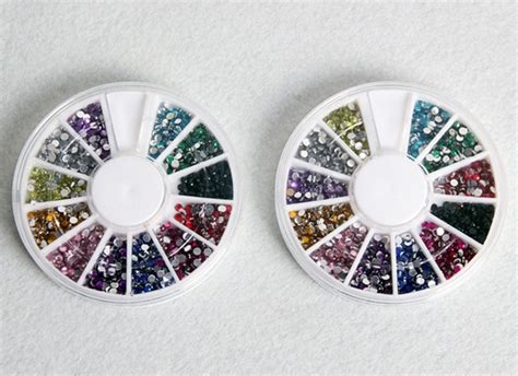 Ab Color Rhinestones In Wheel Nail 12 colors nail tips glitter rhinestones with wheel us 1 97