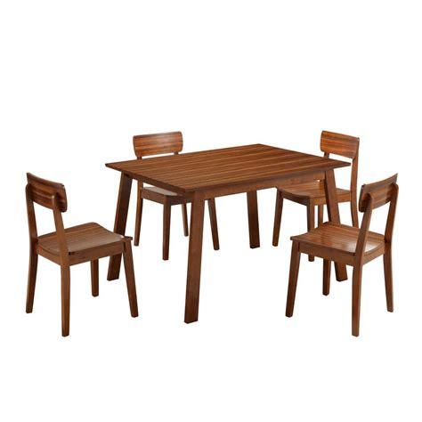 Zebra Dining Room Set by Boraam Zebra Hagen 5 Rich Walnut Dining Set 33212