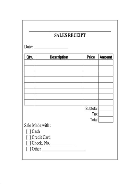 quarter page sales receipt template 10 sales receipt exles sles pdf word pages