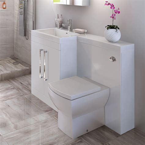 Tabor 120cm White Left Hand Combination Unit Combination Bathroom Furniture