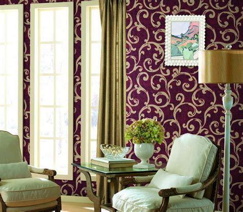harga desain interior ruang tamu model wallpaper dinding ruang tamu ungu interior rumah