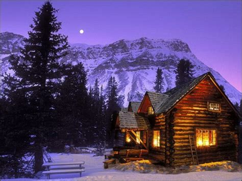 Cabins during a winter night have always been a favorite winter