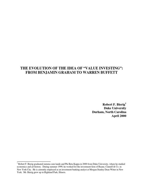 """THE EVOLUTION OF THE IDEA OF """"VALUE INVESTING"""": FROM"""
