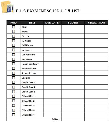 Payment List Template bills payment schedule template