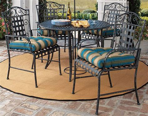 five wrought iron patio set patio table