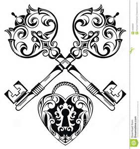 tattoo design of lock and keys stock vector image 49339296