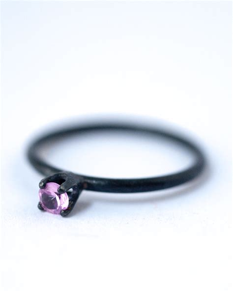 october birthstone ring pink sapphire oxidized silver