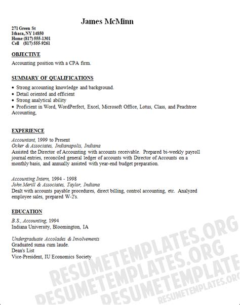cpa resume template accounting general accounting objective
