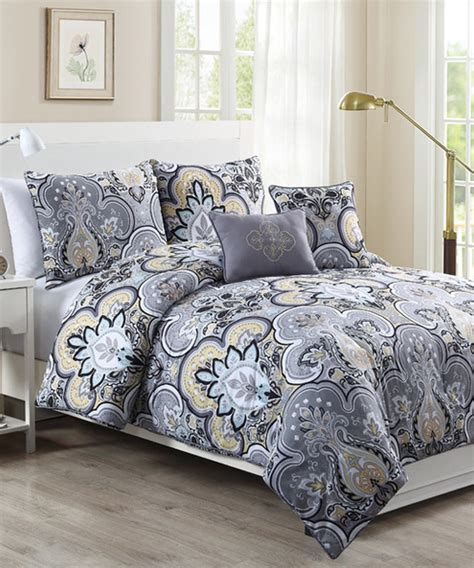 Yellow Comforter Set by Yellow Gray Chester Comforter Set