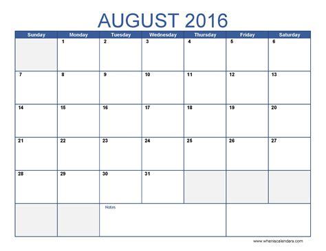 Calendar Template For Pages August 2016 Calendar Template Monthly Calendar 2016 Pdf