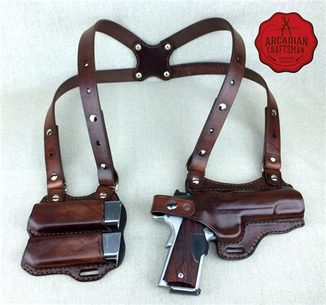 Handmade Leather Shoulder Holster - handmade 1911 shoulder holster with magazine carrier custom