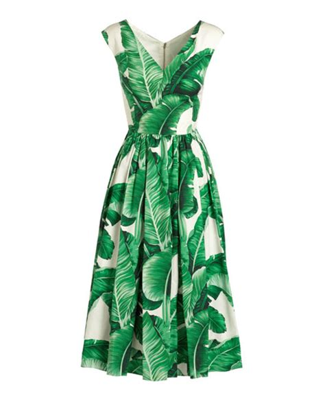 dolce gabbana cap sleeve banana leaf print midi dress