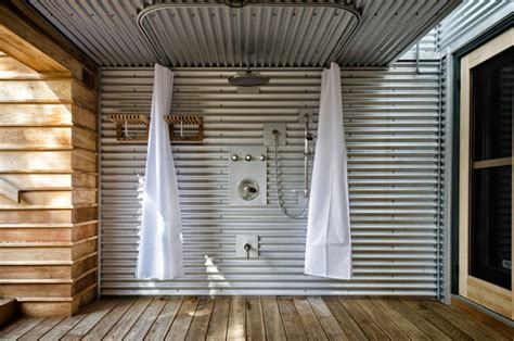 Metal Interior Walls by Outdoor Shower Industrial Patio Toronto By Ed