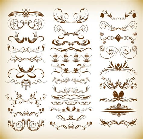 retro vintage design elements vector set vintage ornaments floral elements vector set free vector