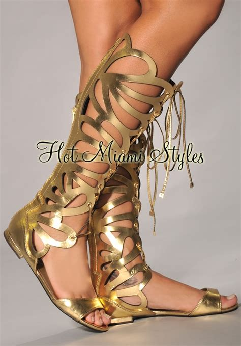 gold knee high gladiator sandals gold cut out knee high gladiator sandals
