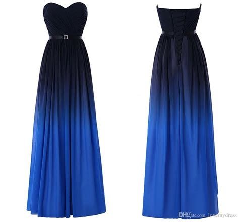 Dress Black Blue fashion gradient ombre prom dresses sweetheart black blue