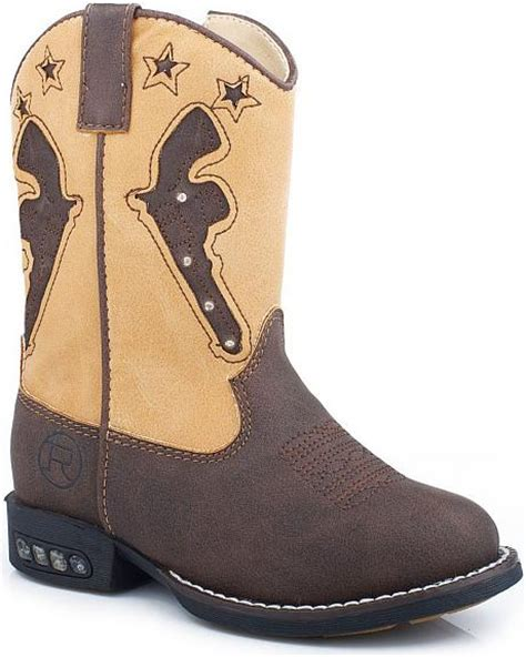 light up boots toddler boy roper toddler boys pistol inlay with light up sole cowboy